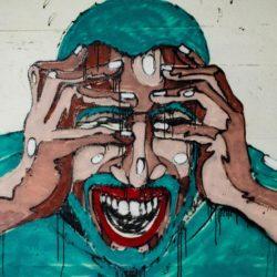 Mural van een boze man